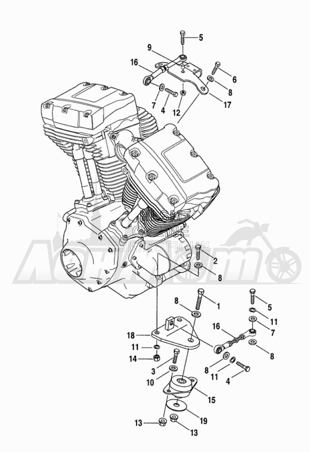Запчасти для Мотоцикла Harley-Davidson 2005 FLTRI ROAD GLIDE® (INJECTION) (FS) Раздел: ENGINE MOUNTS W/ STABILIZER LINK | опоры двигателя вместе с стабилизатор