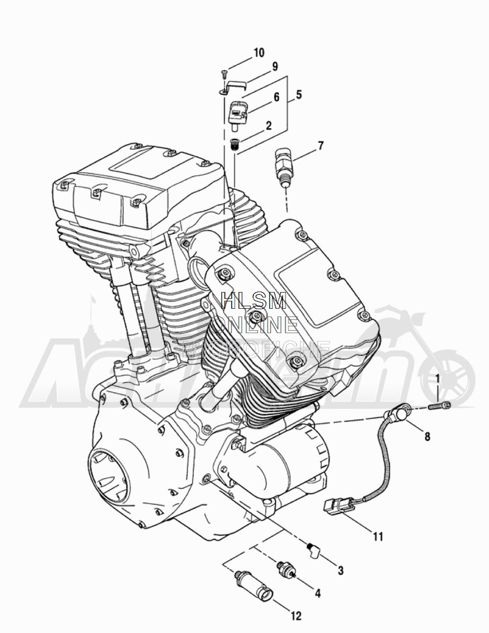 Запчасти для Мотоцикла Harley-Davidson 2005 FLTRI ROAD GLIDE® (INJECTION) (FS) Раздел: ENGINE SENSORS W/ SWITCHES | двигатель датчики вместе с выключатели, переключатели