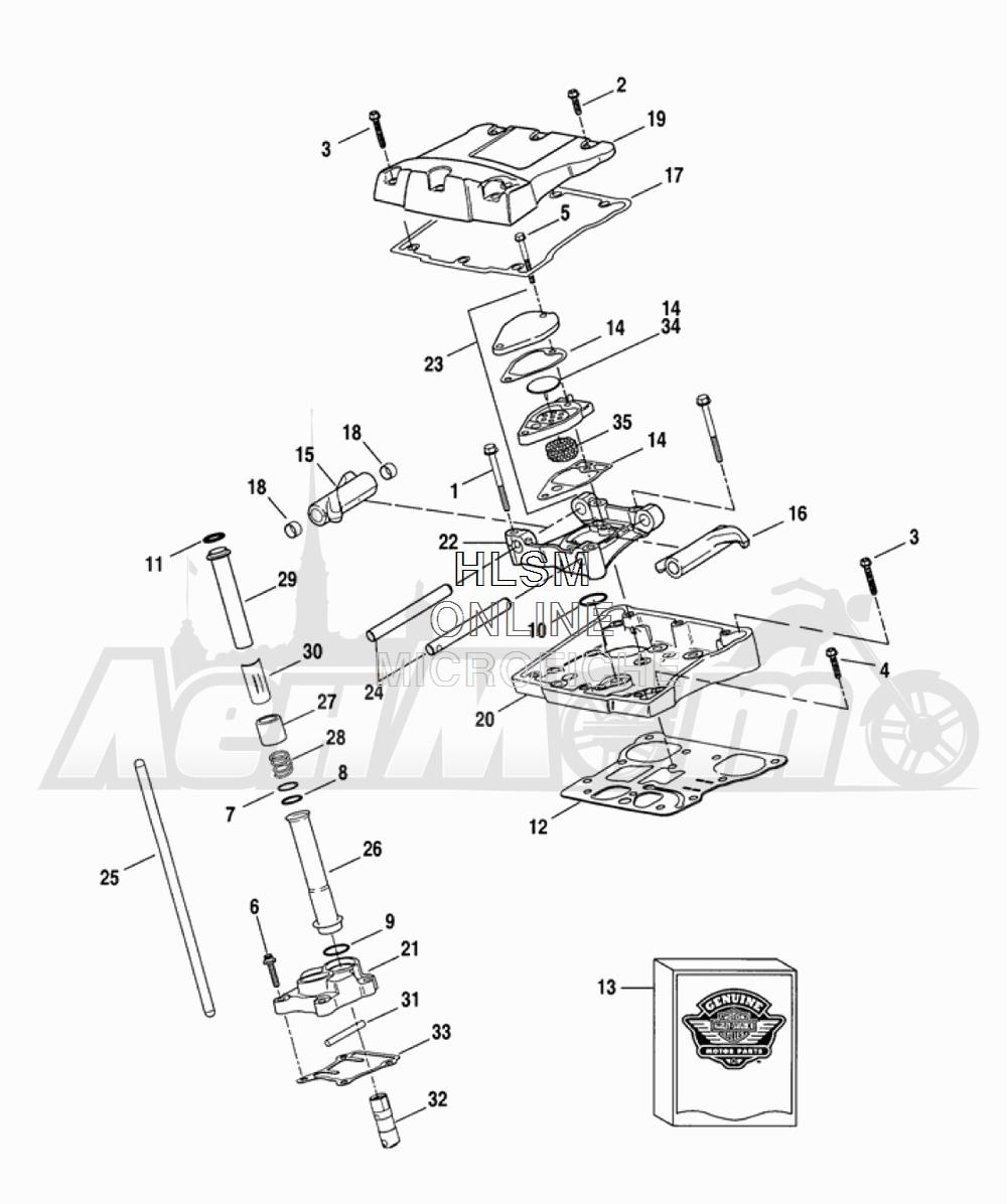 Запчасти для Мотоцикла Harley-Davidson 2005 FLTRI ROAD GLIDE® (INJECTION) (FS) Раздел: ROCKER ARM ASSEMBLY W/ PUSHRODS | коромысло (рокер) клапана в сборе вместе с толкатели