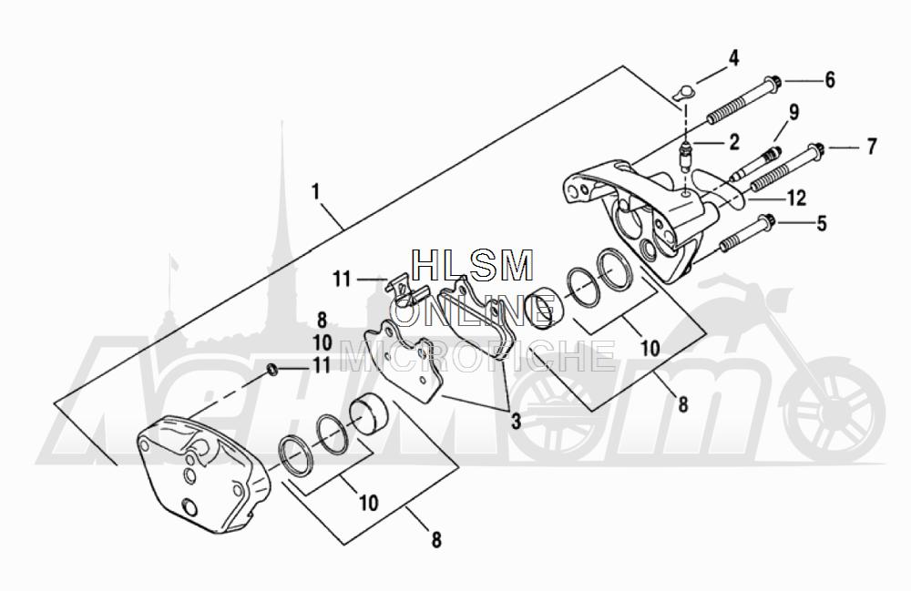 Запчасти для Мотоцикла Harley-Davidson 2005 FLTRI ROAD GLIDE® (INJECTION) (FS) Раздел: BRAKE - FRONT BRAKE CALIPER ASSEMBLY   передний тормоз тормозной суппорт в сборе