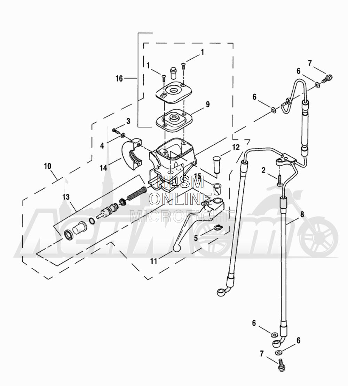 Запчасти для Мотоцикла Harley-Davidson 2005 FLTRI ROAD GLIDE® (INJECTION) (FS) Раздел: BRAKE - FRONT BRAKE CYLINDER ASSEMBLY W/ LEVER | передний тормоз тормоза цилиндр в сборе вместе с рычаг