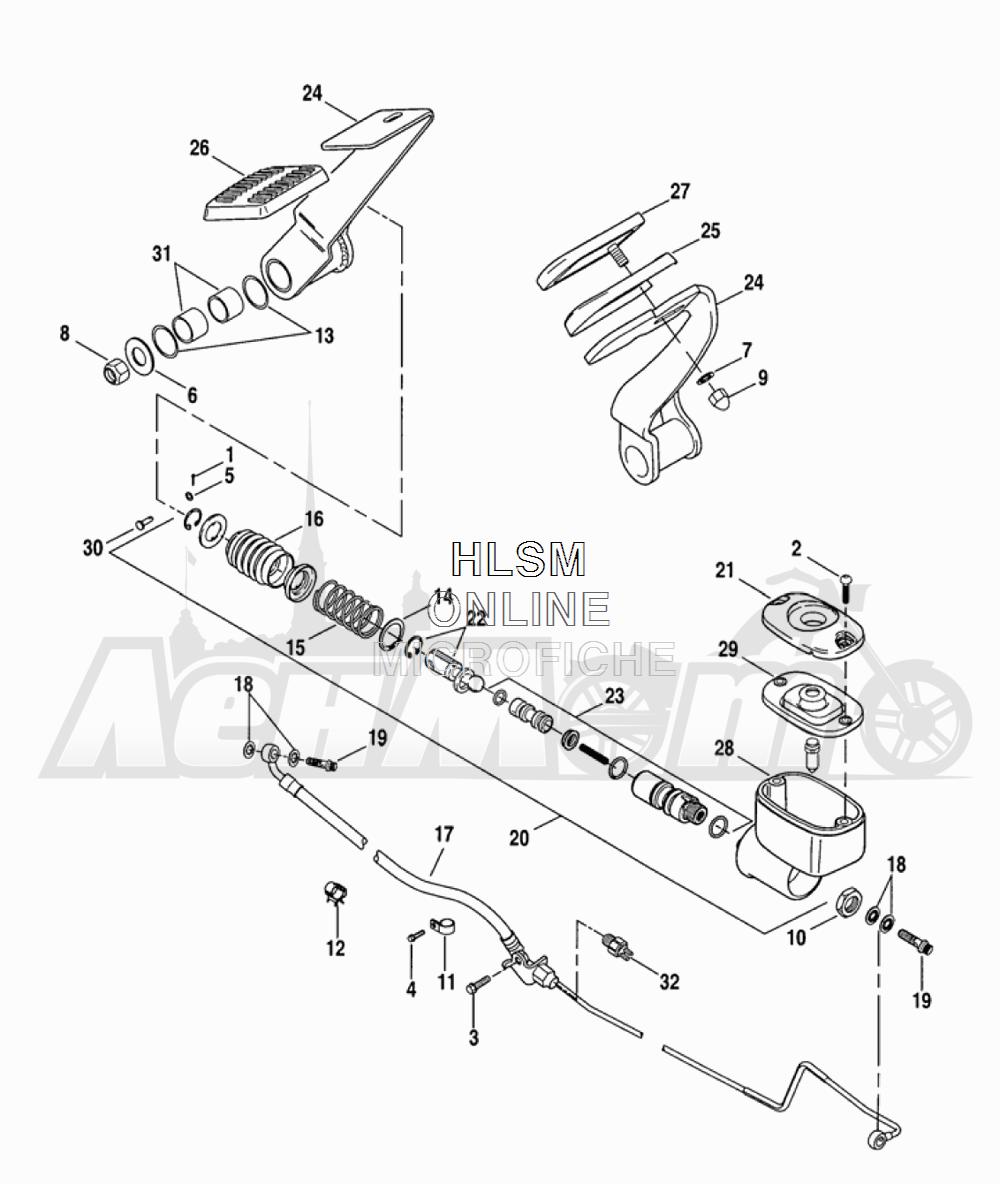 Запчасти для Мотоцикла Harley-Davidson 2005 FLTRI ROAD GLIDE® (INJECTION) (FS) Раздел: BRAKE - REAR BRAKE CYLINDER W/ PEDAL | задний тормоз тормоза цилиндр вместе с педаль