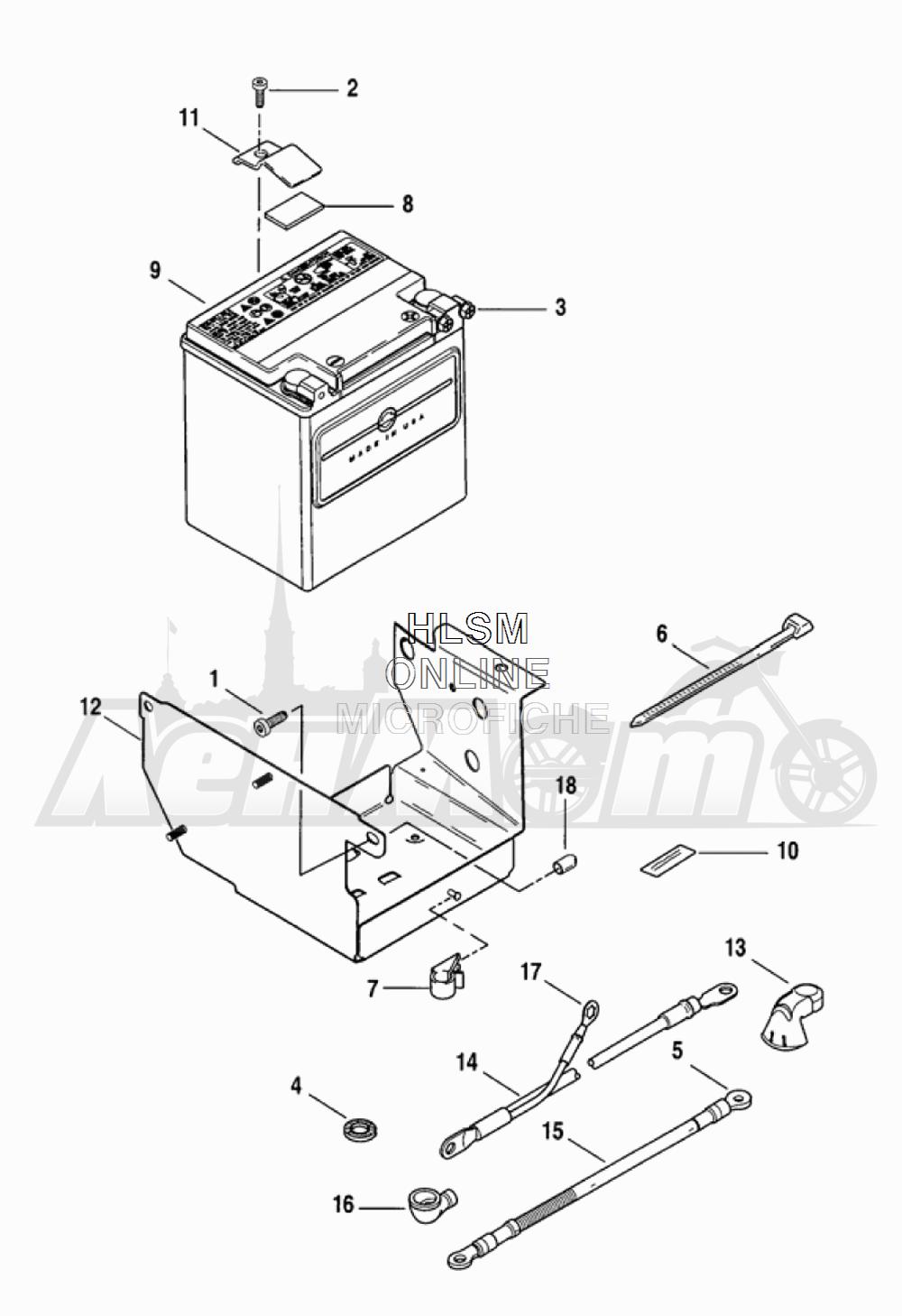 Запчасти для Мотоцикла Harley-Davidson 2005 FLTRI ROAD GLIDE® (INJECTION) (FS) Раздел: ELECTRICAL - BATTERY W/ BATTERY TRAY ASSEMBLY   электрика аккумулятор вместе с аккумулятор лоток в сборе