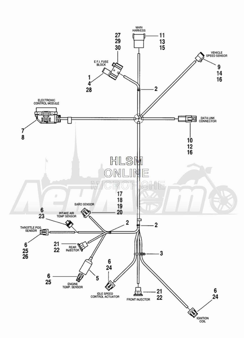 Запчасти для Мотоцикла Harley-Davidson 2005 FLTRI ROAD GLIDE® (INJECTION) (FS) Раздел: ELECTRICAL - WIRING HARNESS ASSEMBLY | электрика электропроводка коса в сборе