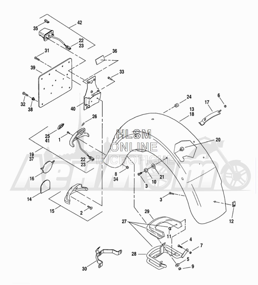 Запчасти для Мотоцикла Harley-Davidson 2005 FLTRI ROAD GLIDE® (INJECTION) (FS) Раздел: FENDER - REAR W/ SUPPORTS   заднее крыло вместе с кронштейны