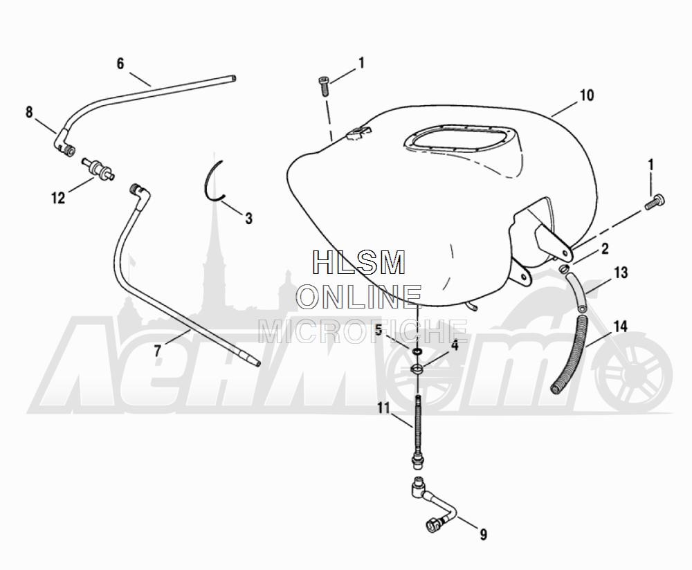 Запчасти для Мотоцикла Harley-Davidson 2005 FLTRI ROAD GLIDE® (INJECTION) (FS) Раздел: FUEL TANK ASSEMBLY - FUEL INJECTED | топливный бак в сборе топливо INJECTED