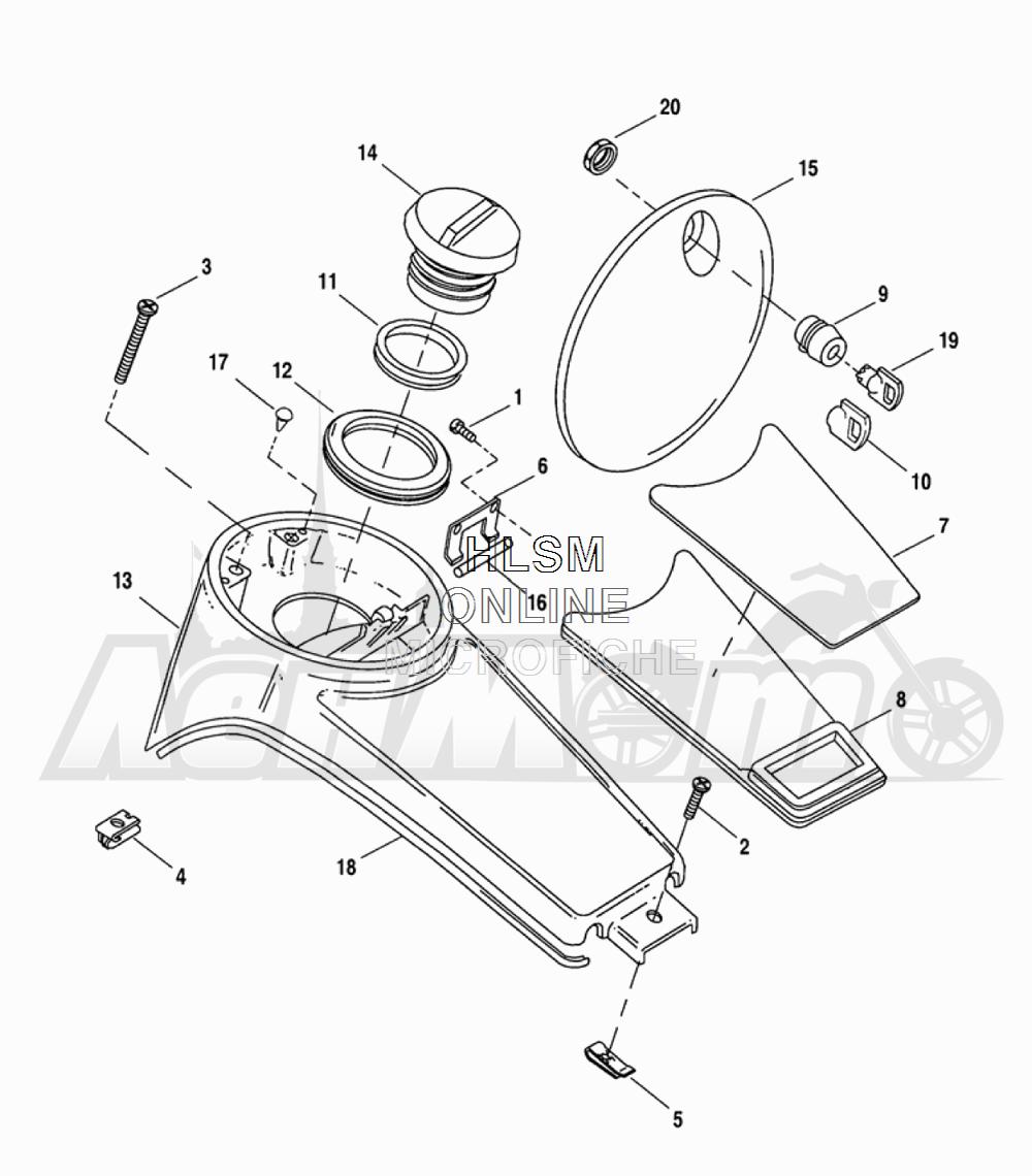 Запчасти для Мотоцикла Harley-Davidson 2005 FLTRI ROAD GLIDE® (INJECTION) (FS) Раздел: FUEL TANK CONSOLE ASSEMBLY | топливный бак консоль в сборе