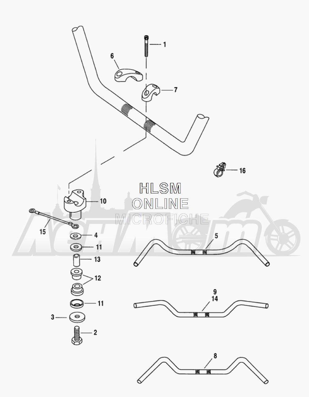 Запчасти для Мотоцикла Harley-Davidson 2005 FLTRI ROAD GLIDE® (INJECTION) (FS) Раздел: HANDLEBAR ASSEMBLY   руль в сборе