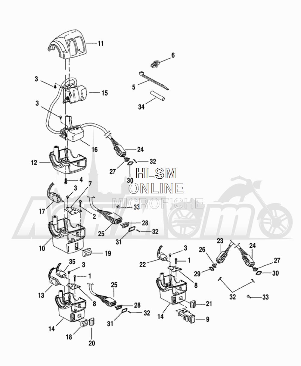 Запчасти для Мотоцикла Harley-Davidson 2005 FLTRI ROAD GLIDE® (INJECTION) (FS) Раздел: HANDLEBAR SWITCHES - LEFT HAND | руль выключатели, переключатели левая рука