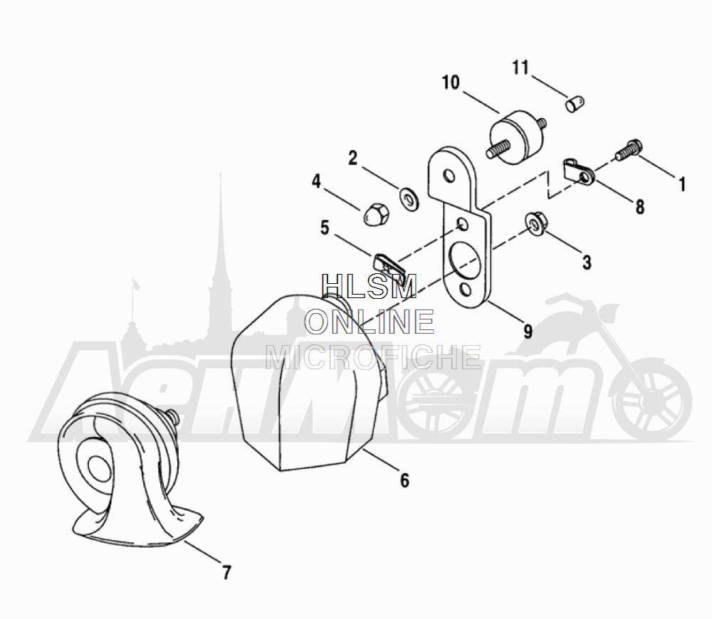 Запчасти для Мотоцикла Harley-Davidson 2005 FLTRI ROAD GLIDE® (INJECTION) (FS) Раздел: HORN ASSEMBLY | звуковой сигнал, гудок в сборе