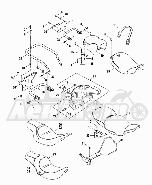 Запчасти для Мотоцикла Harley-Davidson 2005 FLTRI ROAD GLIDE® (INJECTION) (FS) Раздел: SEAT ASSEMBLY W/ REAR FRAME RAILS | сиденье в сборе вместе с зад рама рельсы