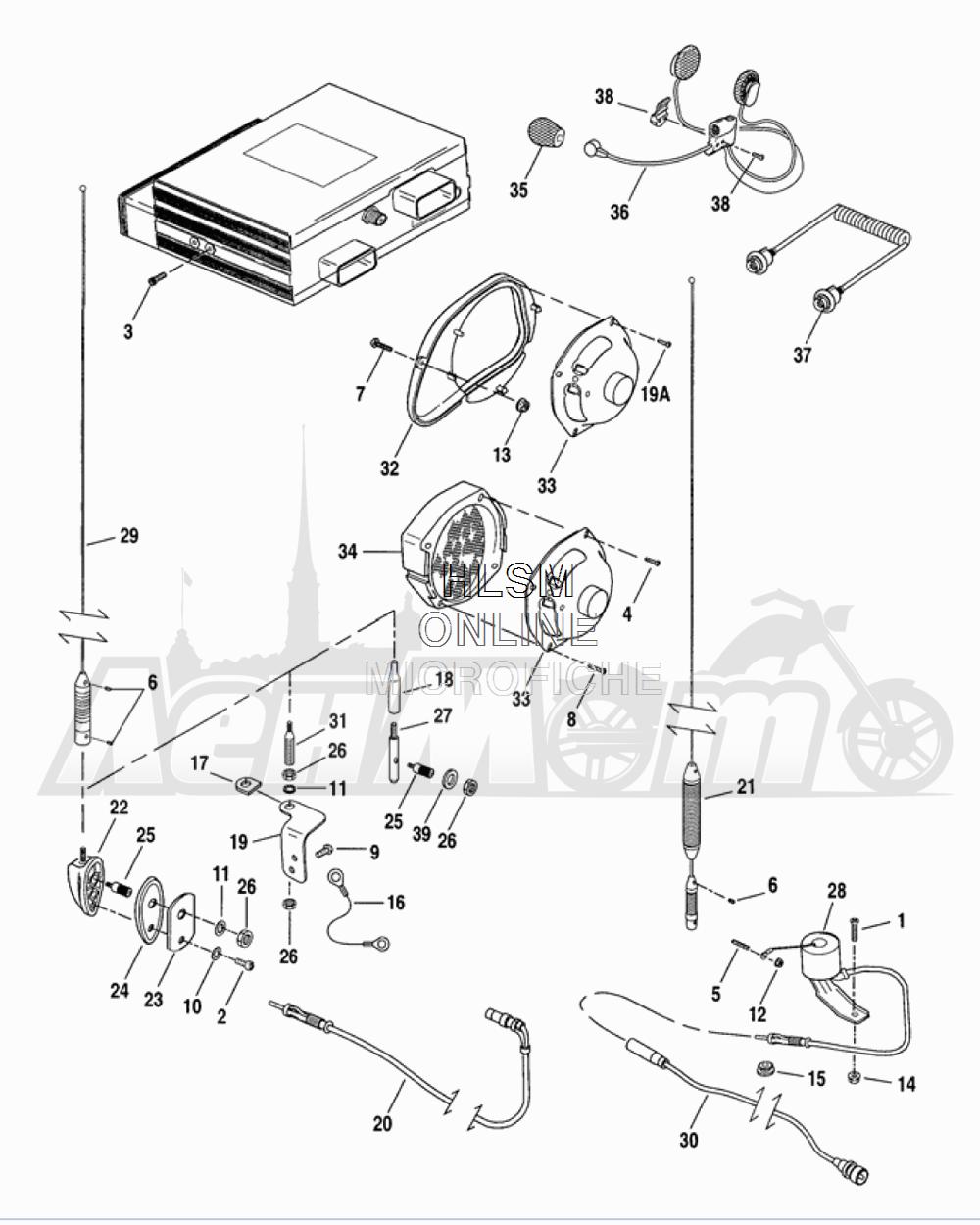Запчасти для Мотоцикла Harley-Davidson 2005 FLTRI ROAD GLIDE® (INJECTION) (FS) Раздел: SOUND SYSTEM | аудиосистема