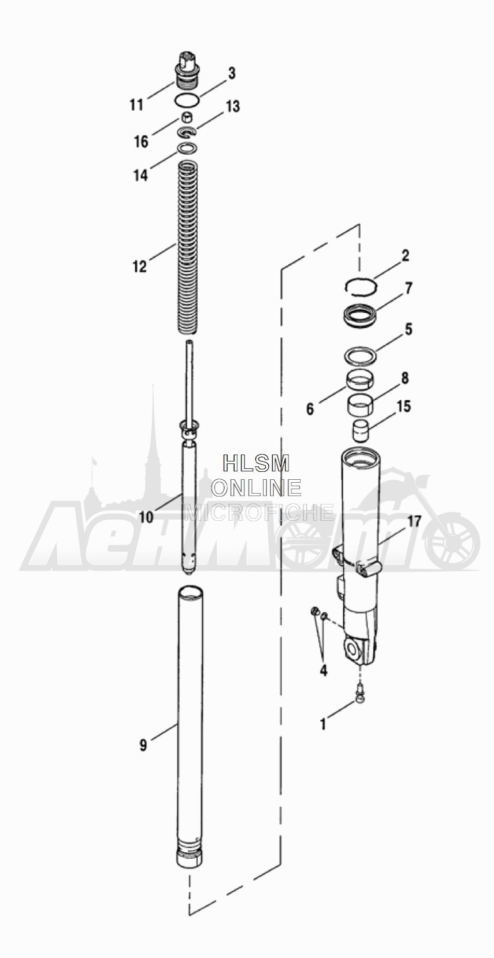 Запчасти для Мотоцикла Harley-Davidson 2005 FLTRI ROAD GLIDE® (INJECTION) (FS) Раздел: SUSPENSION - FRONT FORK - LEFT (FAIRING MODELS) | передняя подвеска вилка левая сторона (модели с обтекателем)