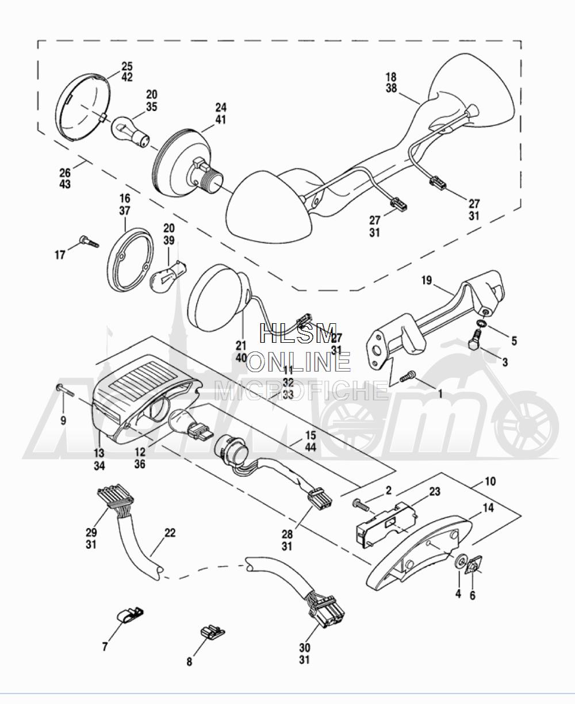 Запчасти для Мотоцикла Harley-Davidson 2005 FLTRI ROAD GLIDE® (INJECTION) (FS) Раздел: TAIL LAMP W/ REAR TURN SIGNALS | TAIL лампа вместе с зад сигналы поворота