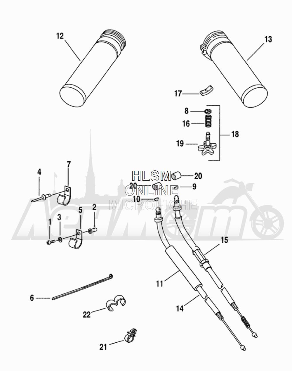 Запчасти для Мотоцикла Harley-Davidson 2005 FLTRI ROAD GLIDE® (INJECTION) (FS) Раздел: THROTTLE CONTROL ASSEMBLY W/ GRIPS | дроссель управление в сборе вместе с ручки