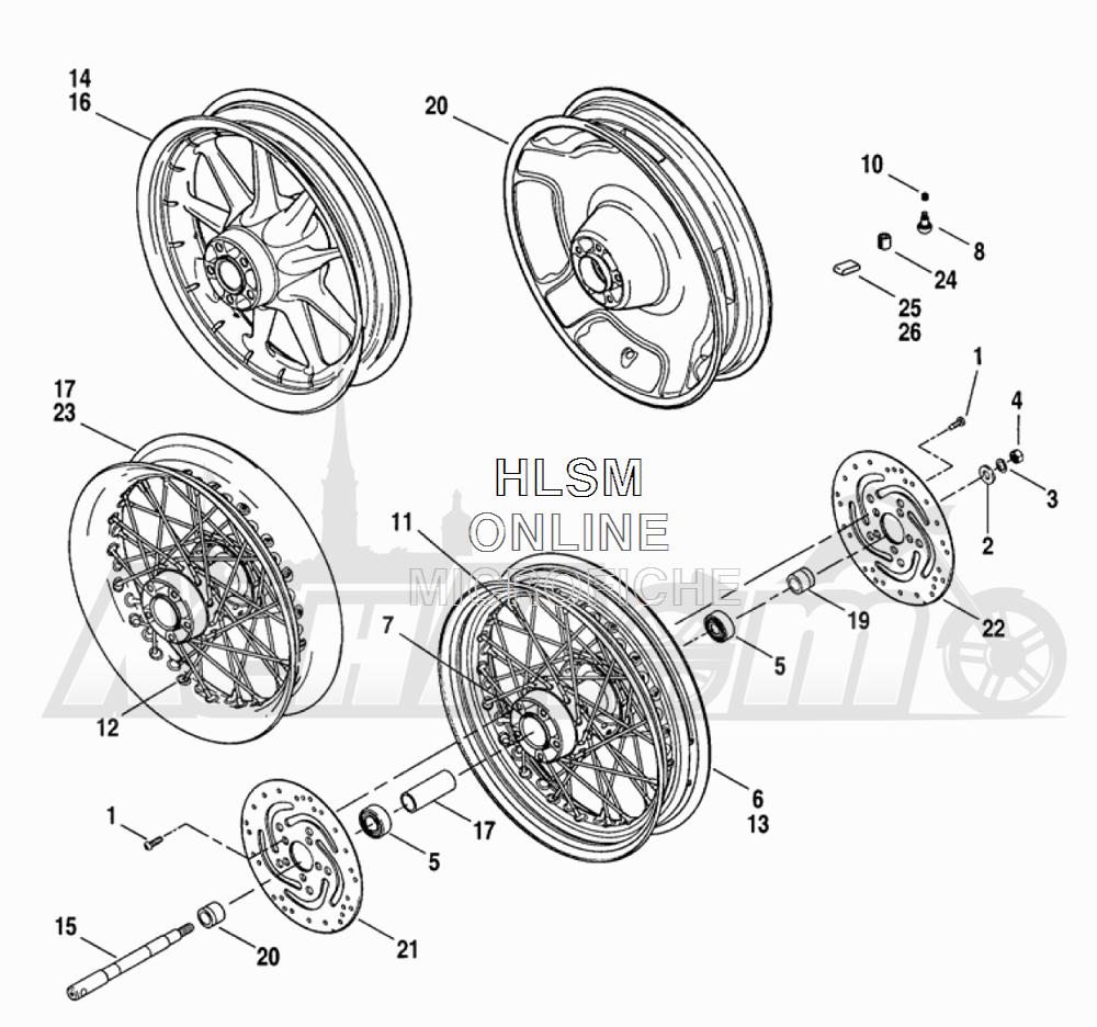 Запчасти для Мотоцикла Harley-Davidson 2005 FLTRI ROAD GLIDE® (INJECTION) (FS) Раздел: WHEEL - FRONT WHEEL ASSEMBLY W/ BRAKE DISK | переднее колесо колесо в сборе вместе с тормозной диск