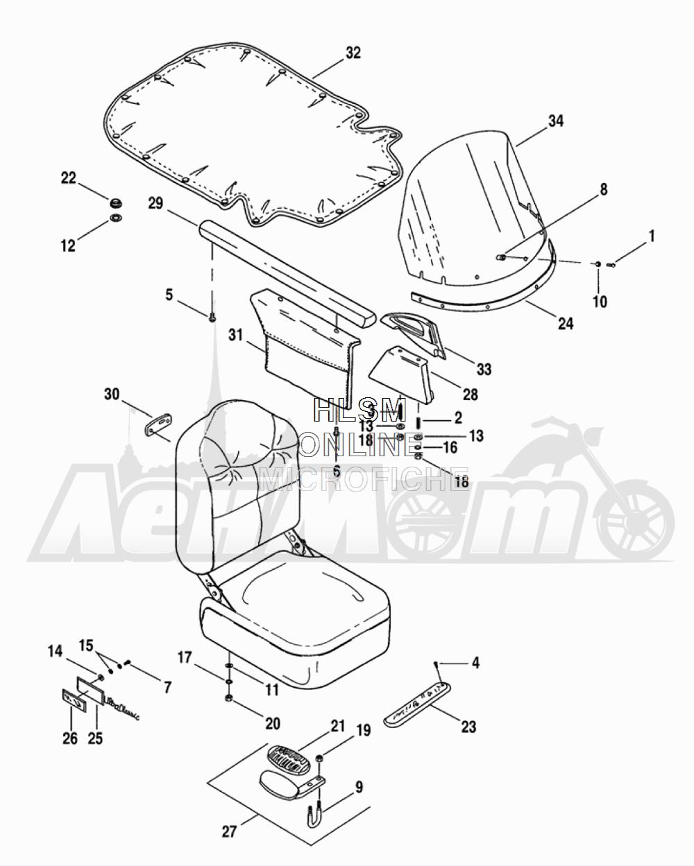 Запчасти для Мотоцикла Harley-Davidson 2005 TLE - SIDE CAR Раздел: SEAT AND WINDSHIELD ASSEMPLY | сиденье и ветровое стекло ASSEMPLY