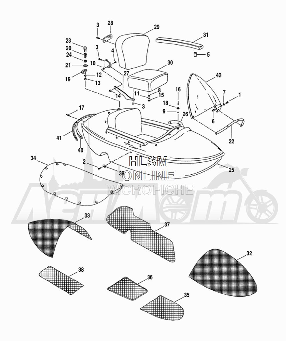 Запчасти для Мотоцикла Harley-Davidson 2005 TLE - SIDE CAR Раздел: SIDECAR BODY | боковая коляска корпус