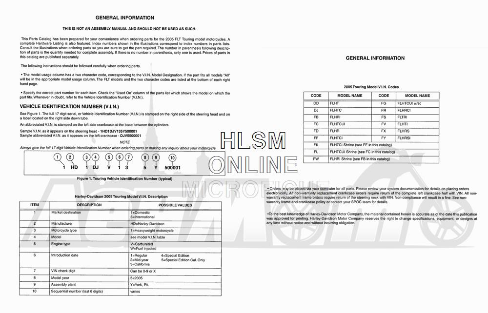 Запчасти для Мотоцикла Harley-Davidson 2005 TLEU - SIDE CAR ULTRA Раздел: MODEL INFO   модель информация