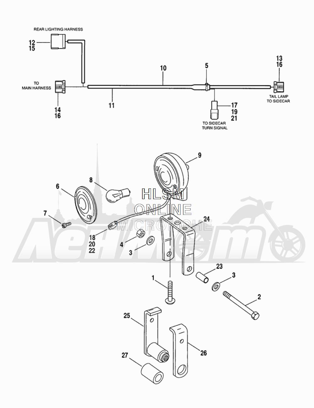 Запчасти для Мотоцикла Harley-Davidson 2005 TLEU - SIDE CAR ULTRA Раздел: TURN SIGNAL ASSEMPLY | сигнал поворота ASSEMPLY