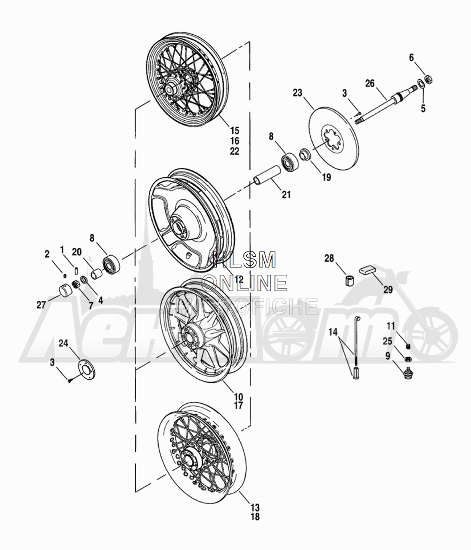 Запчасти для Мотоцикла Harley-Davidson 2005 TLEU - SIDE CAR ULTRA Раздел: WHEEL ASSEMPLY | колесо ASSEMPLY