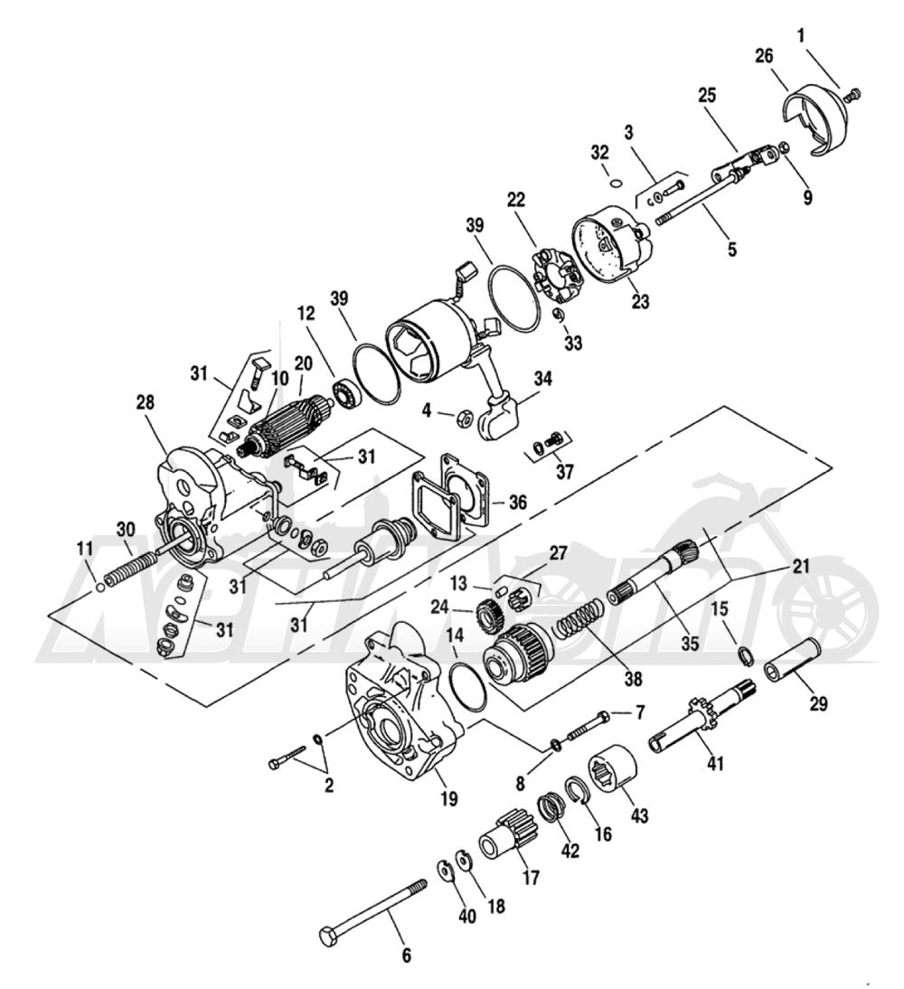 Запчасти для Мотоцикла Harley-Davidson 2005 FXDLI DYNA® LOW RIDER (INJECTION) (GN) Раздел: ELECTRICAL - STARTER ASSEMBLY | электрика стартер в сборе