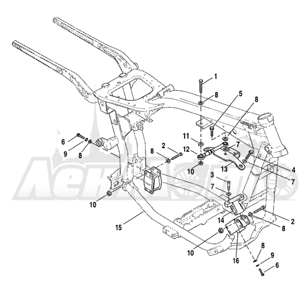 Запчасти для Мотоцикла Harley-Davidson 2005 FXDLI DYNA® LOW RIDER (INJECTION) (GN) Раздел: ENGINE MOUNTS W/ STABILIZER LINK   опоры двигателя вместе с стабилизатор