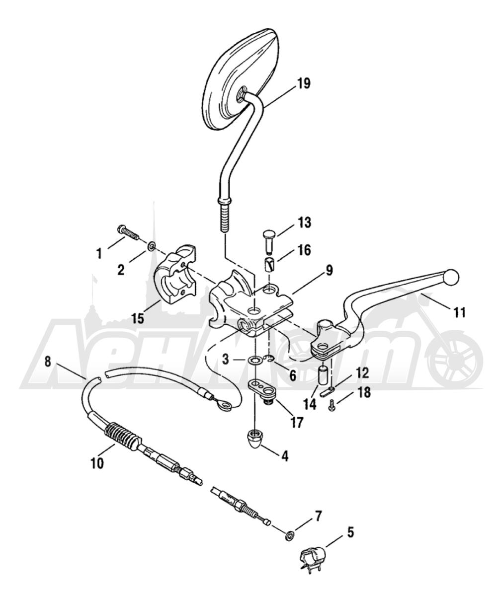 Запчасти для Мотоцикла Harley-Davidson 2005 FXDLI DYNA® LOW RIDER (INJECTION) (GN) Раздел: CLUTCH LEVER ASSEMBLY | сцепление рычаг в сборе