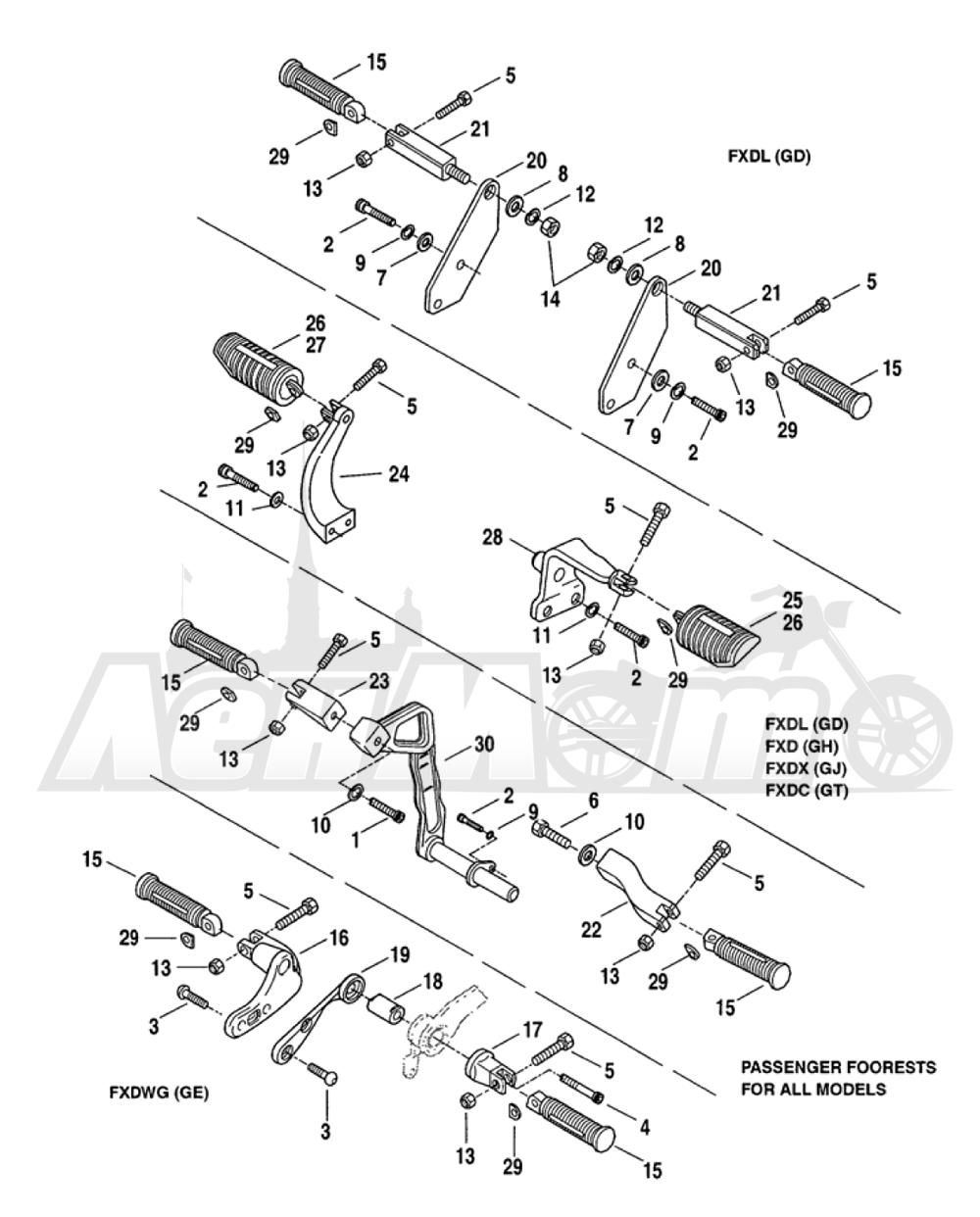 Запчасти для Мотоцикла Harley-Davidson 2005 FXDLI DYNA® LOW RIDER (INJECTION) (GN) Раздел: FOOTRESTS ASSEMBLY | подножки в сборе