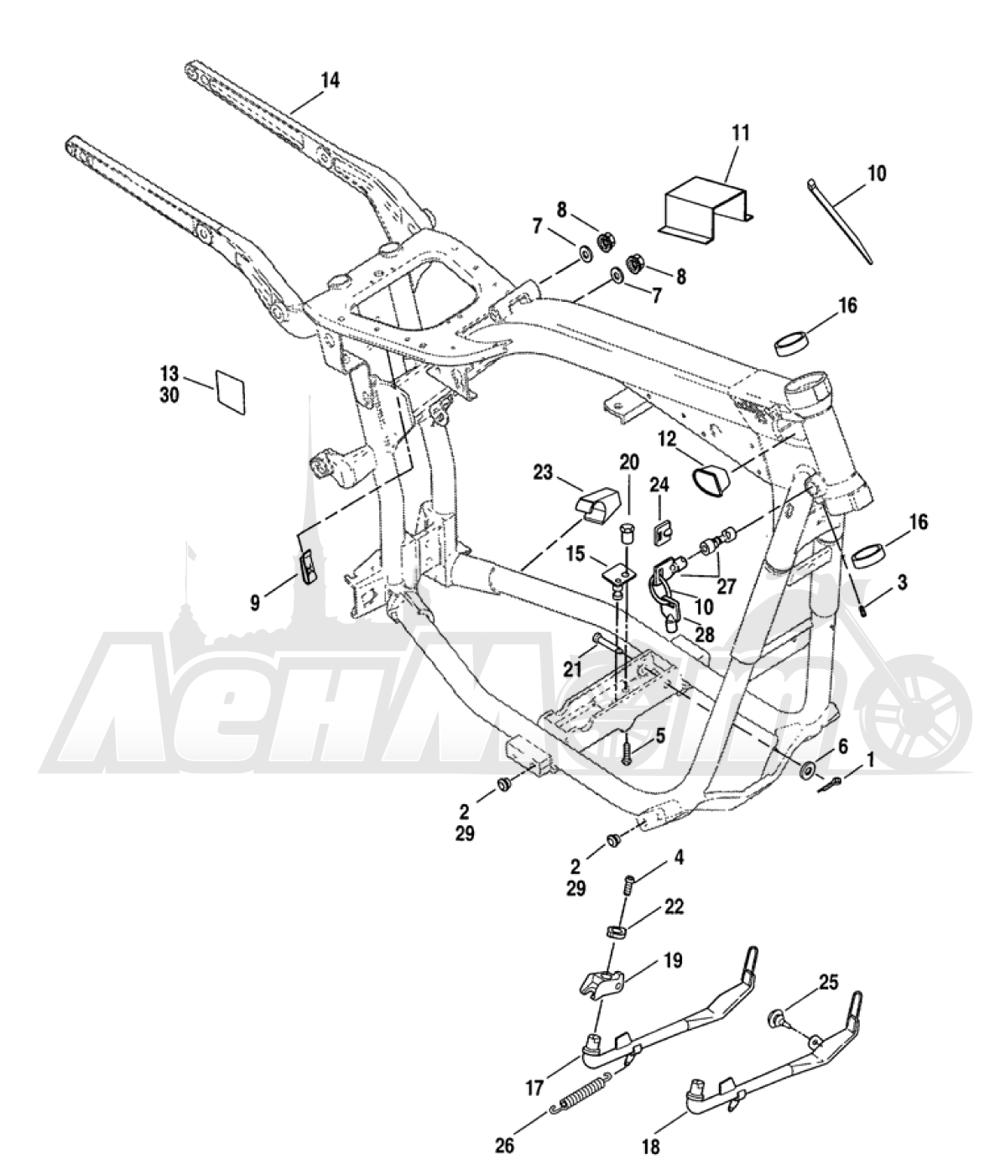 Запчасти для Мотоцикла Harley-Davidson 2005 FXDLI DYNA® LOW RIDER (INJECTION) (GN) Раздел: FRAME ASSEMBLY W/  JIFFY STAND | рама в сборе вместе с боковая подставка