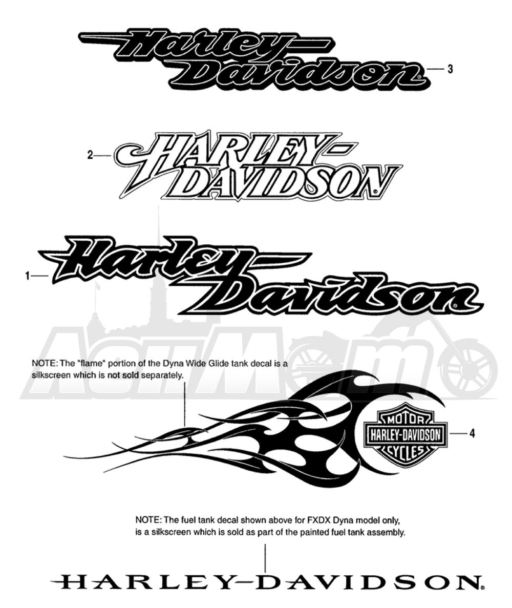 Запчасти для Мотоцикла Harley-Davidson 2005 FXDWG DYNA® WIDE GLIDE (GE) Раздел: FUEL TANK DECALS AND NAME PLATES | топливный бак наклейки и фирменные таблички