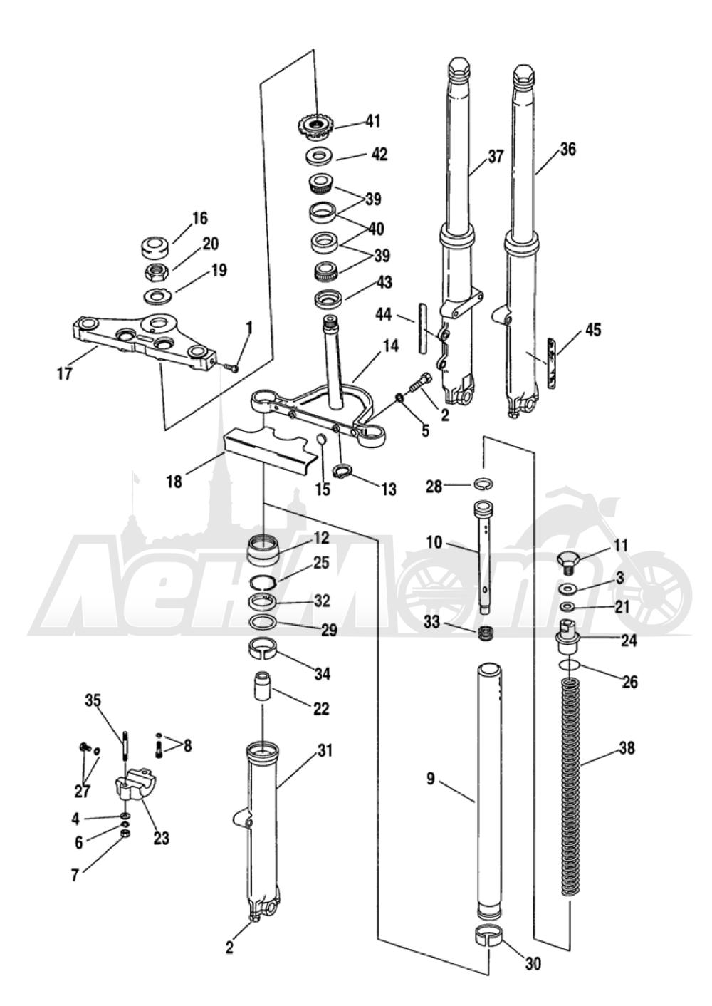 Запчасти для Мотоцикла Harley-Davidson 2005 FXDWG DYNA® WIDE GLIDE (GE) Раздел: SUSPENSION - FRONT FORK ASSEMBLY W/ STEERING STEM | передняя подвеска вилка в сборе вместе с рулевое управление стойка