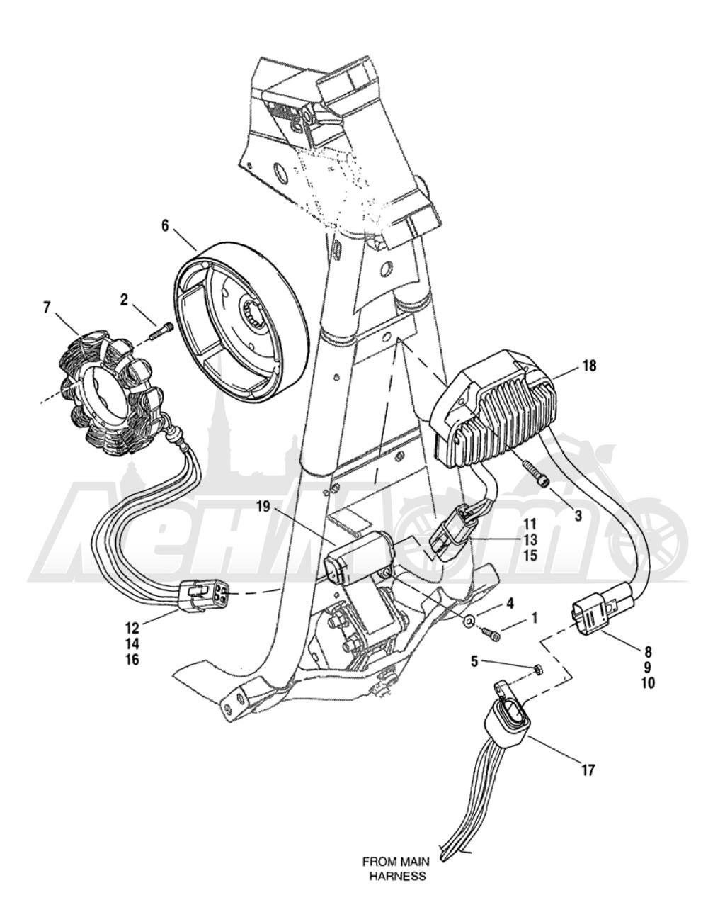 Запчасти для Мотоцикла Harley-Davidson 2005 FXDX DYNA® SUPER GLIDE SPORT (GJ) Раздел: ELECTRICAL - ALTERNATOR W/ VOLTAGE REGULATOR | электрика генератор вместе с регулятор напряжения