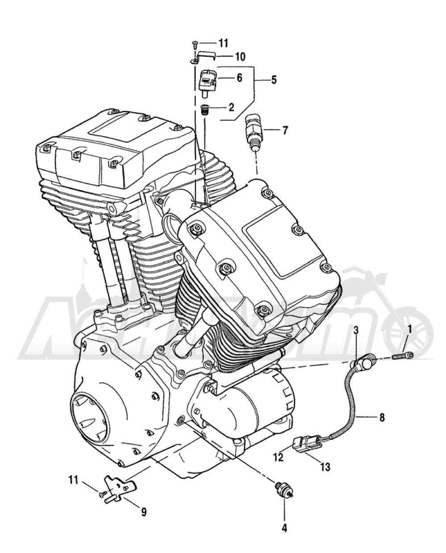 Запчасти для Мотоцикла Harley-Davidson 2005 FXDXI DYNA® SUPER GLIDE SPORT (INJECTION) (GR) Раздел: ENGINE SENSORS W/ SWITCHES | двигатель датчики вместе с выключатели, переключатели