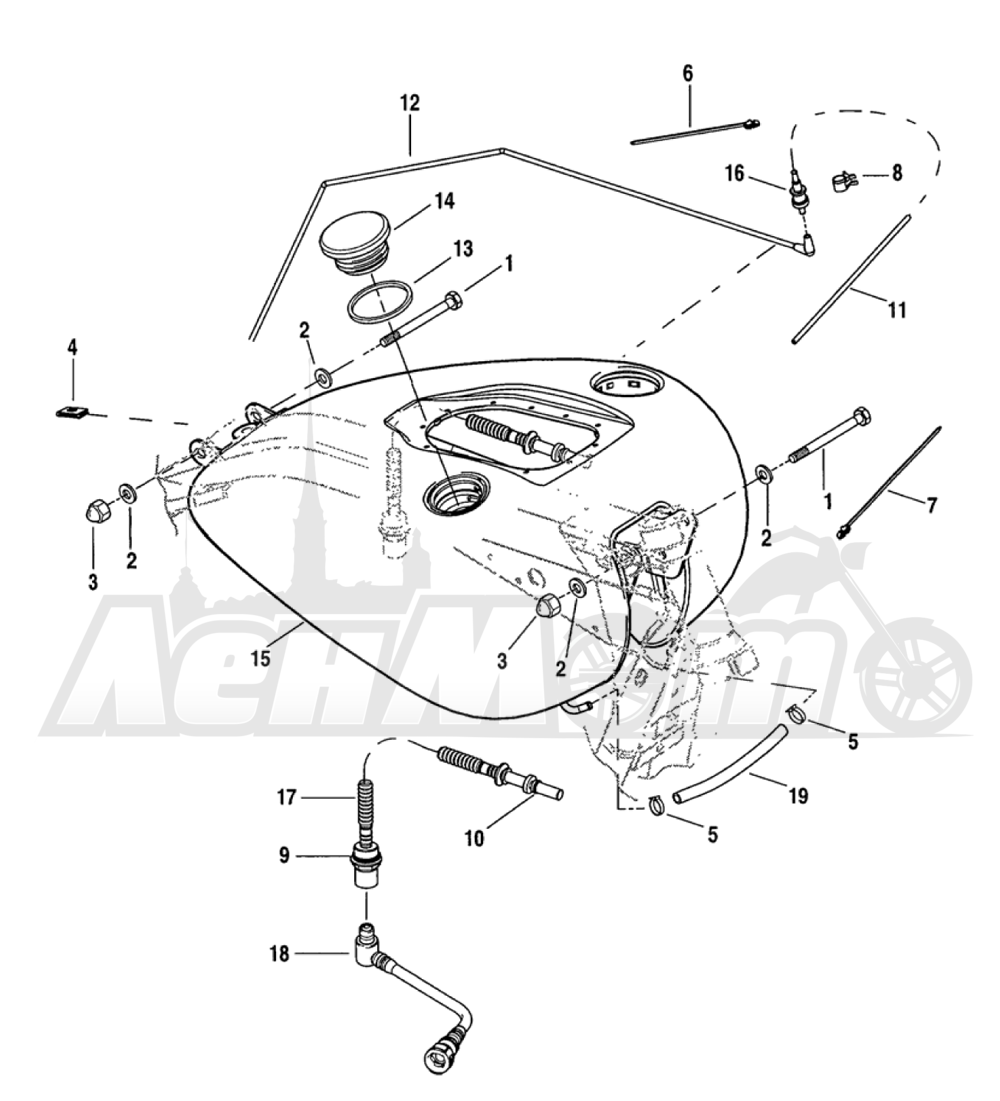 Запчасти для Мотоцикла Harley-Davidson 2005 FXDXI DYNA® SUPER GLIDE SPORT (INJECTION) (GR) Раздел: FUEL TANK ASSEMBLY - FUEL INJECTED   топливный бак в сборе топливо INJECTED