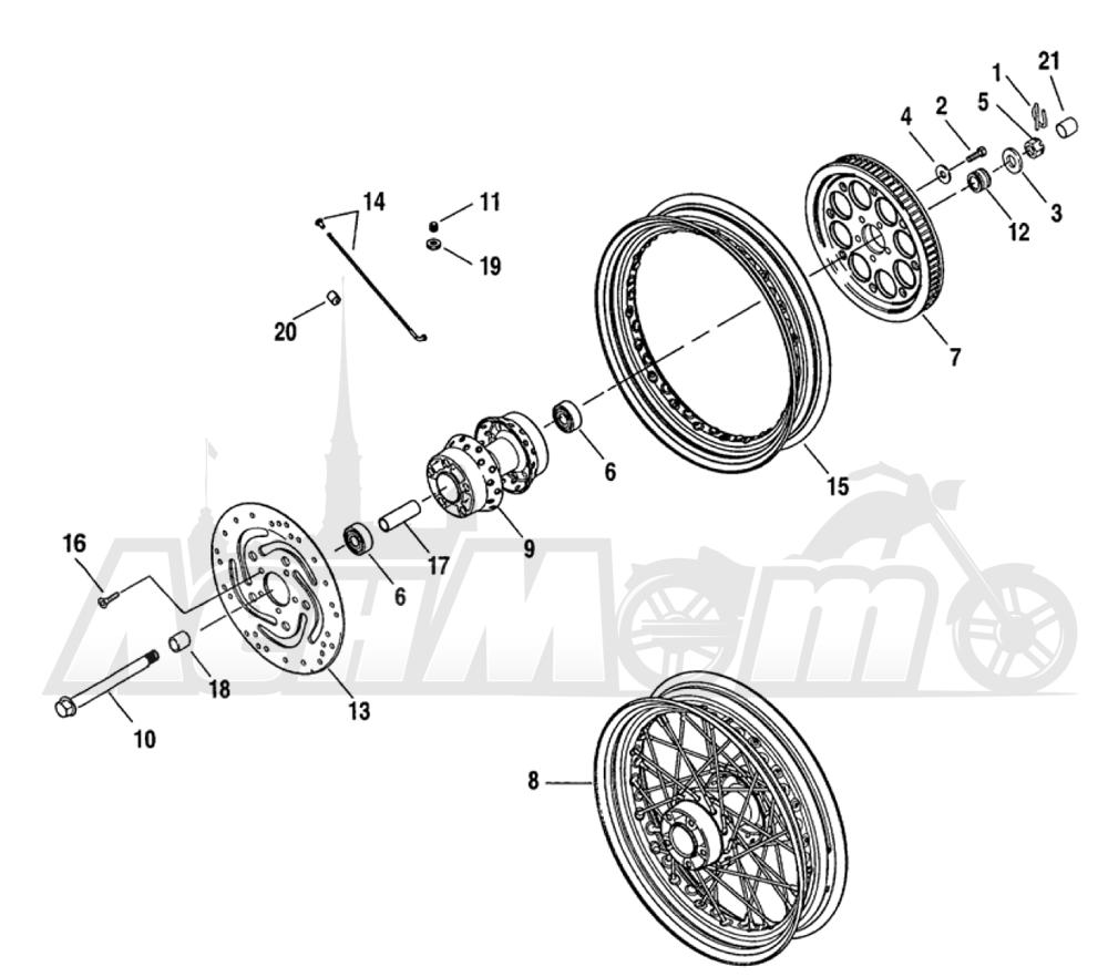 Запчасти для Мотоцикла Harley-Davidson 2005 FXDXI DYNA® SUPER GLIDE SPORT (INJECTION) (GR) Раздел: WHEEL - REAR (LACED) | заднее колесо (LACED)