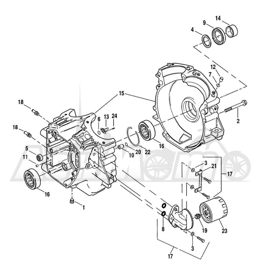 Запчасти для Мотоцикла Harley-Davidson 2005 FXDI DYNA® SUPER GLIDE (INJECTION) (GM) Раздел: CRANKCASE ASSEMBLY W/ OIL FILTER   картер в сборе вместе с масляный фильтр