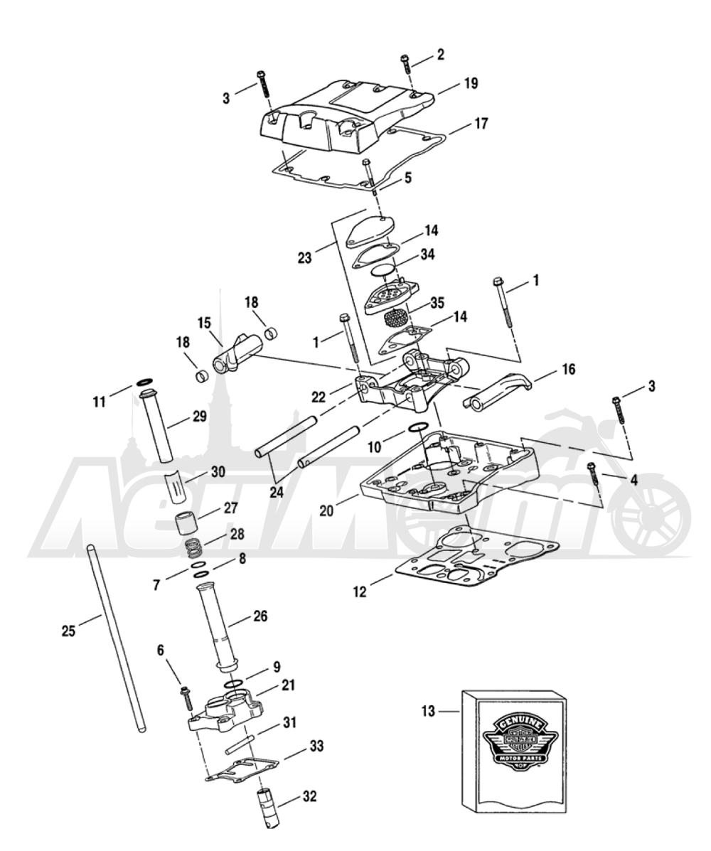 Запчасти для Мотоцикла Harley-Davidson 2005 FXDI DYNA® SUPER GLIDE (INJECTION) (GM) Раздел: ROCKER ARM ASSEMBLY W/ PUSHRODS | коромысло (рокер) клапана в сборе вместе с толкатели