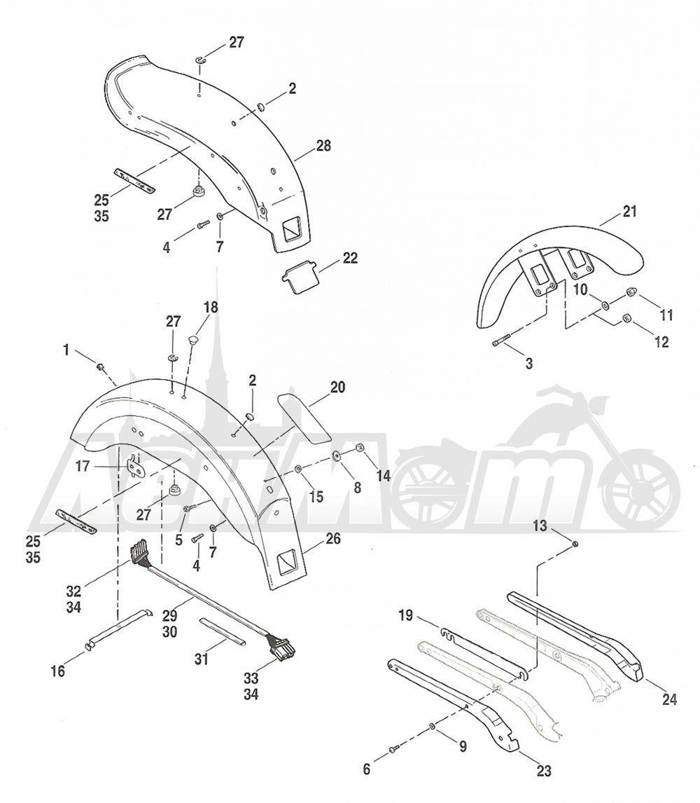 Запчасти для Мотоцикла Harley-Davidson 2005 FXDI DYNA® SUPER GLIDE (INJECTION) (GM) Раздел: FENDERS - FRONT AND REAR W/ COVERS | крылья перед и зад вместе с крышки