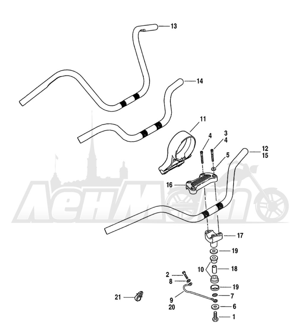 Запчасти для Мотоцикла Harley-Davidson 2005 FXDI DYNA® SUPER GLIDE (INJECTION) (GM) Раздел: HANDLEBAR ASSEMBLY | руль в сборе