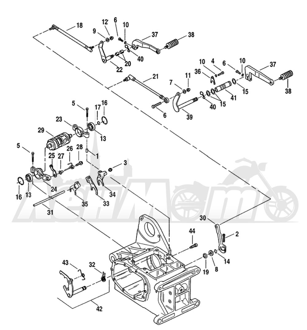 Запчасти для Мотоцикла Harley-Davidson 2005 FXDC DYNA® SUPER GLIDE CUSTOM (GT) Раздел: GEAR SHIFTER ASSEMBLY | переключатель скоростей в сборе