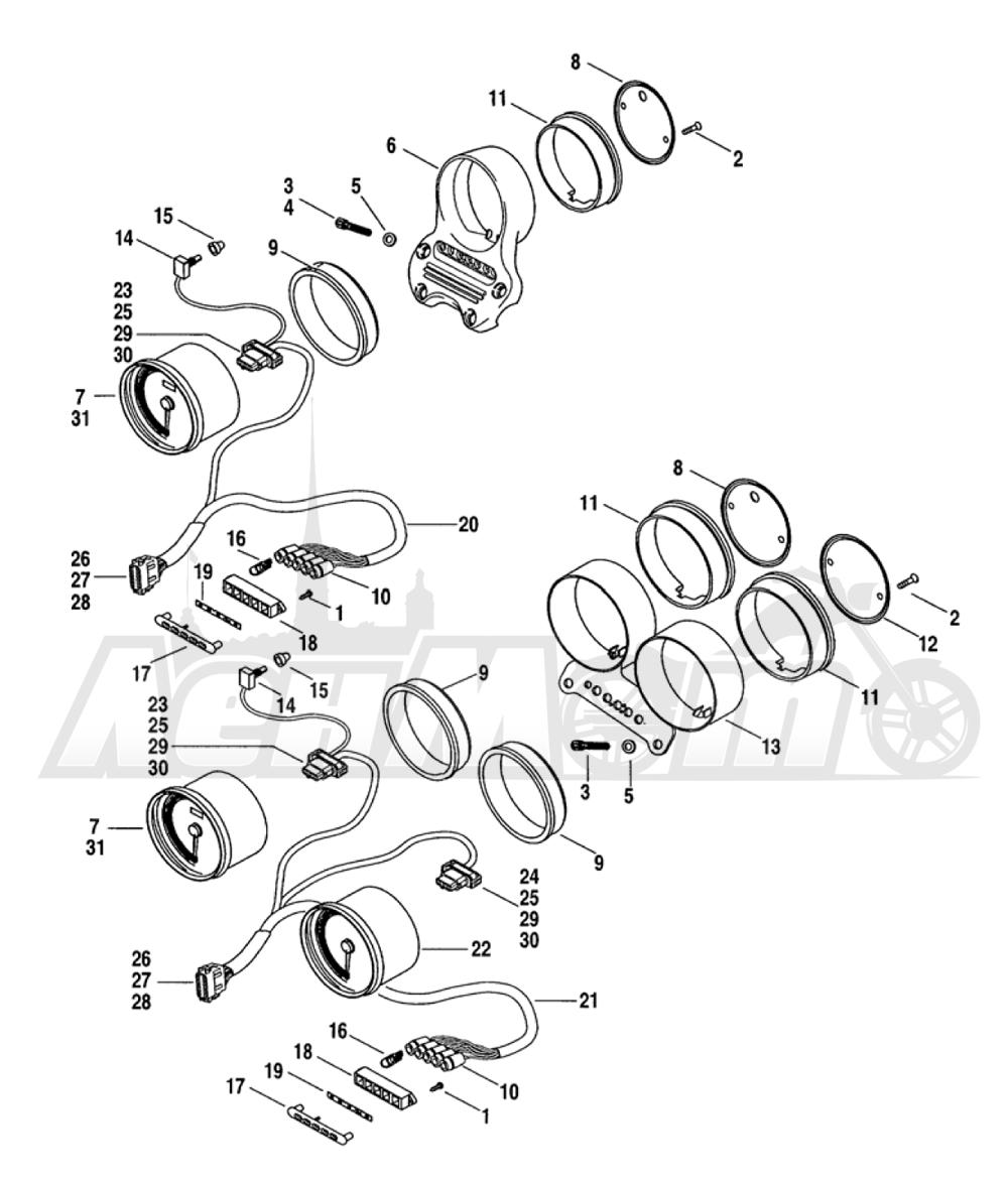 Запчасти для Мотоцикла Harley-Davidson 2005 FXDC DYNA® SUPER GLIDE CUSTOM (GT) Раздел: INSTRUMENT ASSEMBLY | прибор в сборе