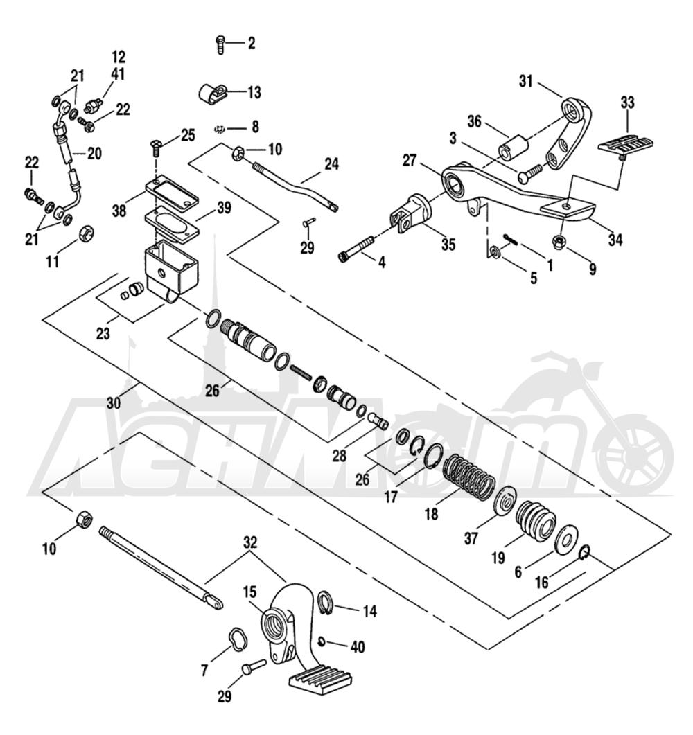 Запчасти для Мотоцикла Harley-Davidson 2005 FXDCI DYNA® SUPER GLIDE CUSTOM (INJECTION) (GV) Раздел: BRAKE - REAR BRAKE CYLINDER W/ PEDAL | задний тормоз тормоза цилиндр вместе с педаль