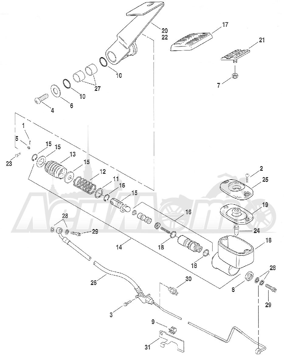 Запчасти для Мотоцикла Harley-Davidson 2005 FXST SOFTAIL® (BH) (CARBURATED) Раздел: BRAKE - REAR BRAKE CYLINDER W/ PEDAL | задний тормоз тормоза цилиндр вместе с педаль