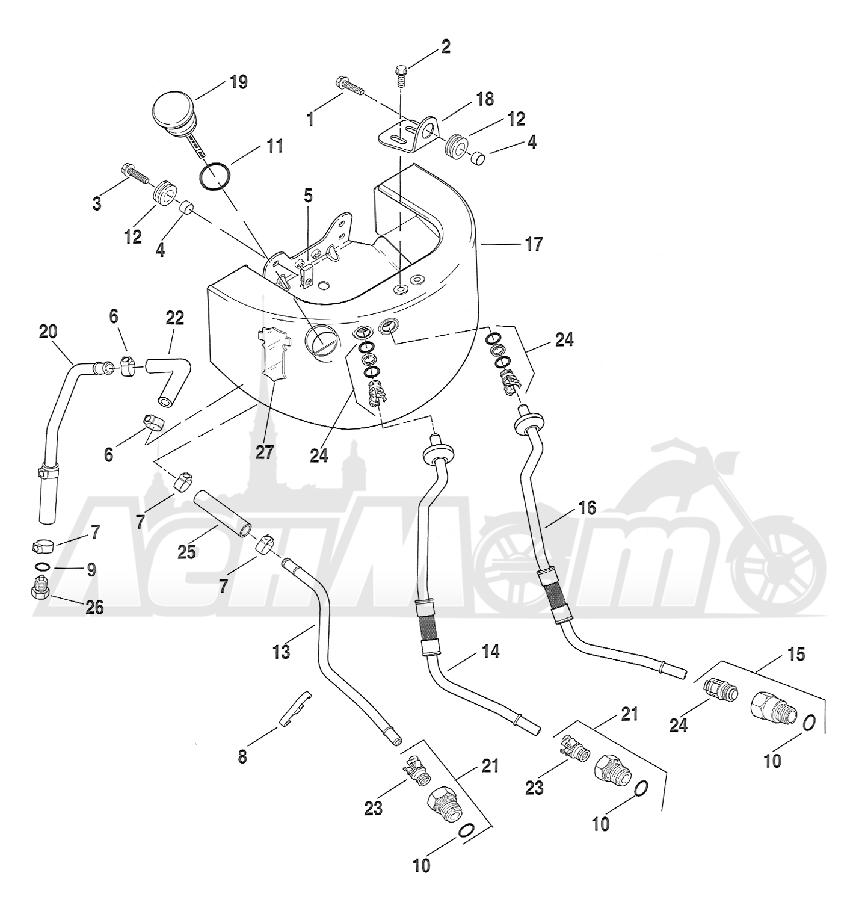 Запчасти для Мотоцикла Harley-Davidson 2005 FXST SOFTAIL® (BH) (CARBURATED) Раздел: OIL TANK ASSEMBLT W/ LINES | маслобак ASSEMBLT вместе с магистрали