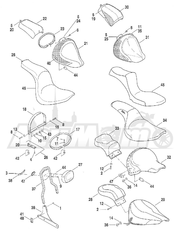 Запчасти для Мотоцикла Harley-Davidson 2005 FXST SOFTAIL® (BH) (CARBURATED) Раздел: SEAT ASSEMBLY | сиденье в сборе