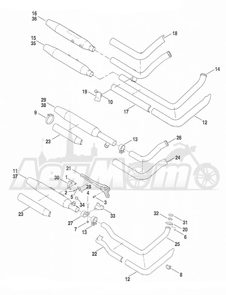Запчасти для Мотоцикла Harley-Davidson 2005 FXSTD SOFTAIL® (BS) (CARBURATED) Раздел: EXHAUST SYSTEM   выпускная система