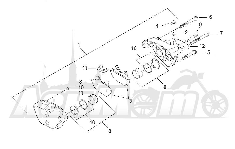 Запчасти для Мотоцикла Harley-Davidson 2005 FXSTD SOFTAIL® (BS) (CARBURATED) Раздел: BRAKE - FRONT BRAKE CALIPER ASSEMBLY   передний тормоз тормозной суппорт в сборе