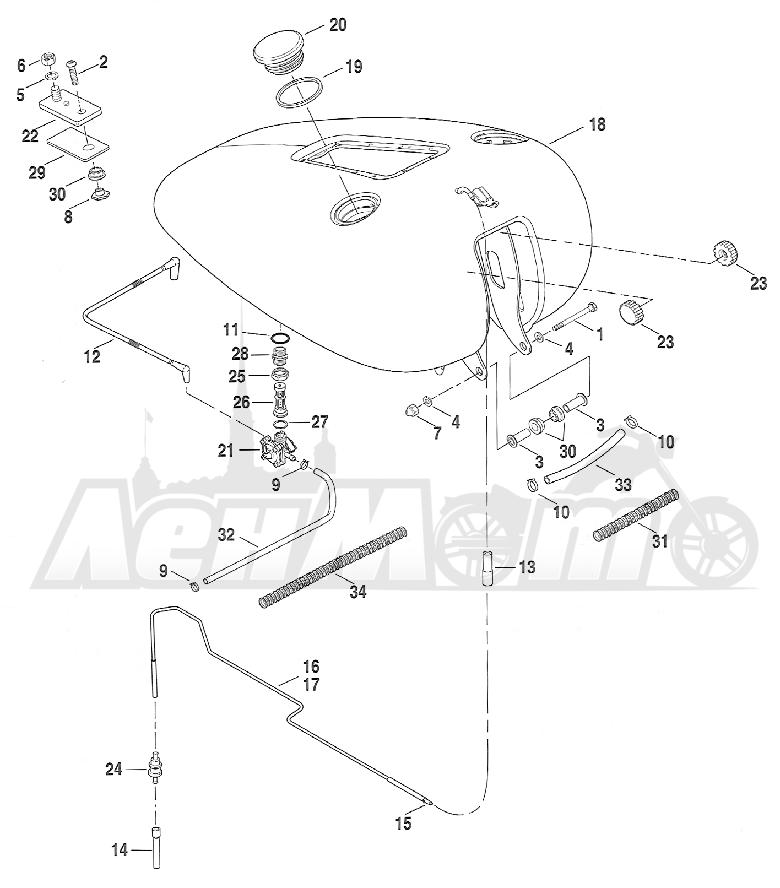 Запчасти для Мотоцикла Harley-Davidson 2005 FXSTD SOFTAIL® (BS) (CARBURATED) Раздел: FUEL TANK ASSEMBLY   топливный бак в сборе