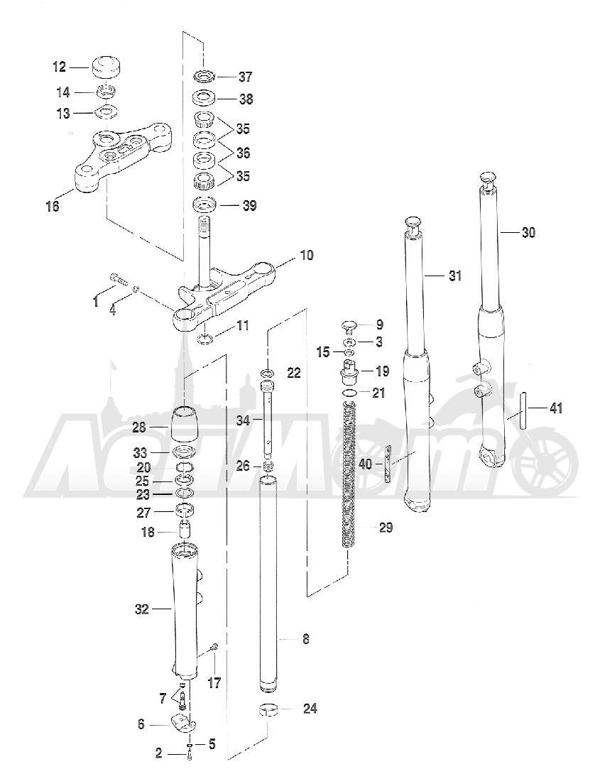 Запчасти для Мотоцикла Harley-Davidson 2005 FXSTD SOFTAIL® (BS) (CARBURATED) Раздел: SUSPENSION - FRONT FORK ASSEMBLY W/ STEERING STEM | передняя подвеска вилка в сборе вместе с рулевое управление стойка